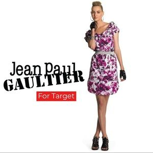 Jean Paul Gaultier Pink Floral Rolled Collar Dress